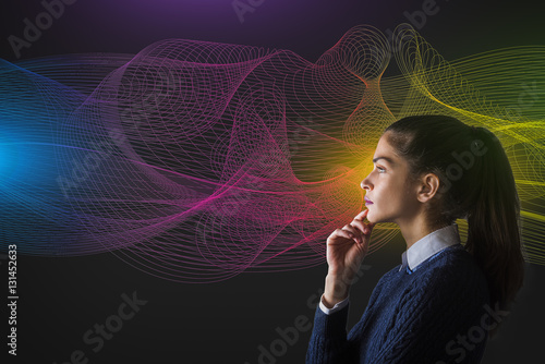 Poster concept of a young woman thinking in front of rainbow color spectrum vector line