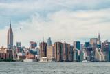 Uptown Manhattan skyline New York. Splittoned image.
