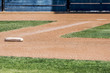 first base and home plate on an empty baseball diamond