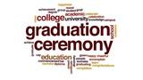 Graduation ceremony animated word cloud.