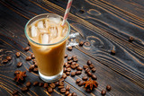 Iced coffee or latte in glass cup
