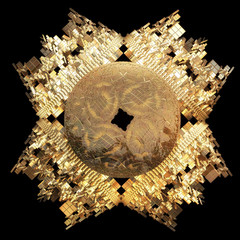abstract golden fractal iterated shape generated by computer