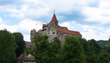 Pernstejn Castle is a castle on a rock above the village of Nedvedice some 40 kilometres 25 mi northwest of Brno, in the South Moravian Region, Czech Republic.