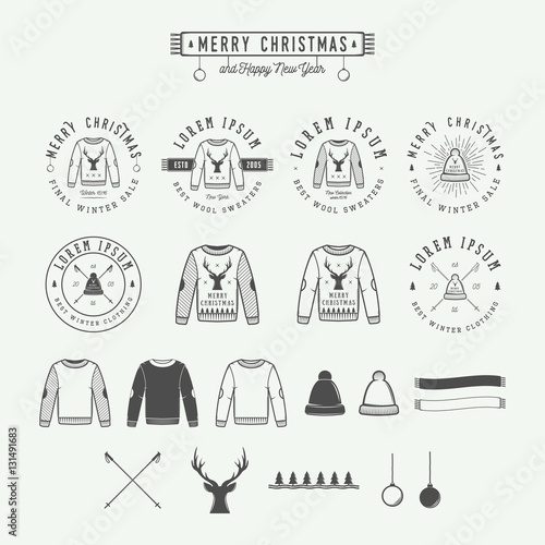 Fotobehang Hipster Hert Vintage Merry Christmas or winter sales logo, emblem, badge