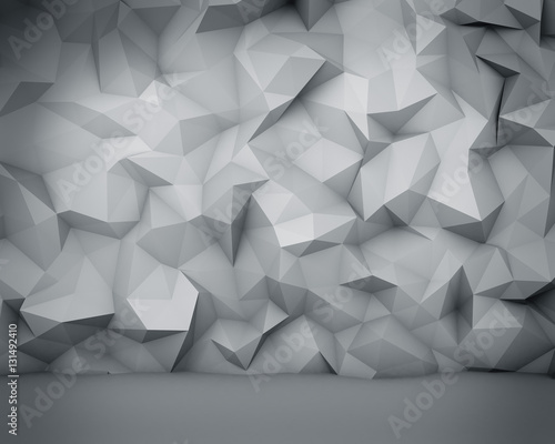 Fototapeta Abstract white polygon wall background.