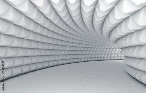 Fototapeta Abstract white tunnel with pyramid textured walls.