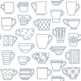 Coffee cups and mugs outline icons seamless pattern background 1 - 131494692
