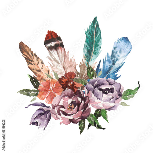 Watercolor vintage floral bouquets. Boho spring flowers and feathers isolated on white background. Hand painted natural design - 131496203