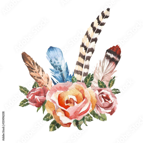 Watercolor vintage floral bouquets. Boho spring flowers and feathers isolated on white background. Hand painted natural design - 131496208