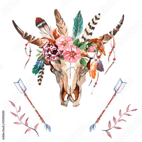 Watercolor isolated bull's head with flowers and feathers on white background. Boho style. Skull for wrapping, wallpaper, t-shirts, textile, posters, cards, prints - 131496280