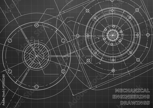 Mechanical engineering drawings. Background for inscription. Vector. Black and white