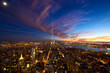 Aerial view of Manhattan New York City at dusk