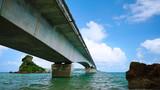 View from under The Kouri Bridge, one of the very long bridge in Okinawa Japan