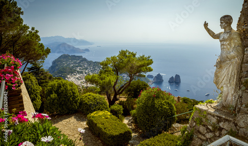 Panoramic view of Capri Island from Mount Solaro, Italy