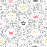 Fototapety Seamless watercolor and glittering crowns pattern. Vector background.
