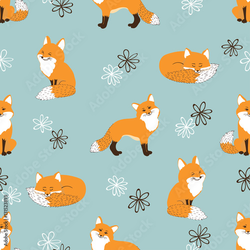 Seamless pattern with cute cartoon foxes. Vector background. - 131523893