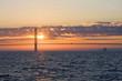 Mackinac Bridge during sunset. Sunset over the Mackinac Bridge, Michigan, USA.