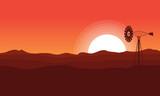 WIndmill on desert of landscape