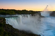 View Niagara waterfall at sunset. Looking from American side.