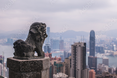 Poster HONK KONG Harbour with lion statue