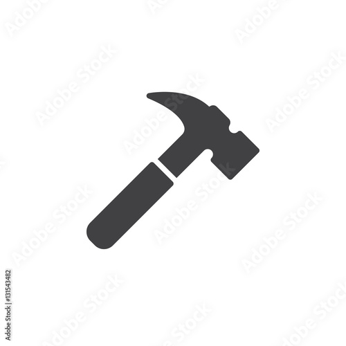 Hammer icon vector, filled flat sign, solid pictogram isolated on white. Symbol, logo illustration
