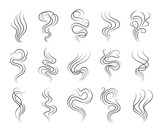 Fototapety Smoke smell line icons. Smoking and steaming vector signs