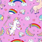 Fototapety Pink vector hand drawn unicorns seamless pattern