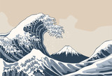 Ocean waves, Japanese style illustration - 131550605