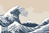 Ocean waves, Japanese style illustration - 131550605
