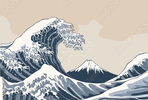 Fototapeta Ocean waves, Japanese style illustration