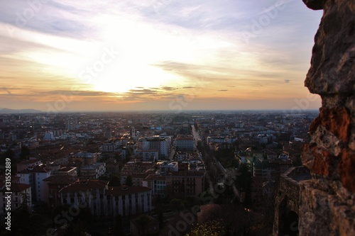 Poster Veduta della città di Bergamo all'alba