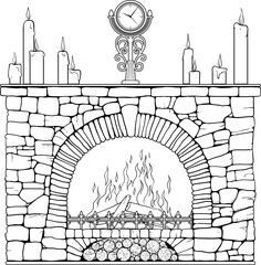 Stone fireplace with clock and candels.