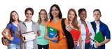 Fototapety Lachende türkische Studentin mit internationalen Studenten