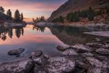 Fototapety Mirror Lake Surface Reflecting Sunset Light And Pine Trees, Altai Mountains Highland Nature Autumn Landscape Photo