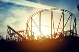 Roller coaster in the sunset