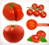 Tomato. Vegetable 3d vector icon set