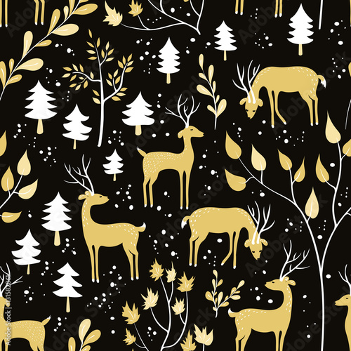 Materiał do szycia Seamless pattern with deer in winter forest