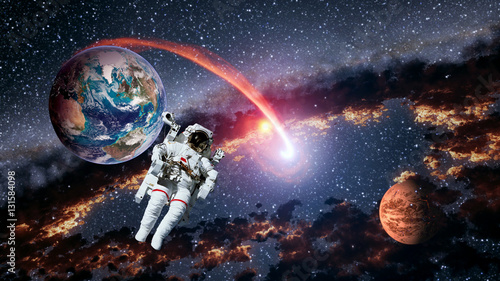 Foto op Canvas UFO Astronaut planet Earth Mars spaceman launch outer space galaxy universe. Elements of this image furnished by NASA.