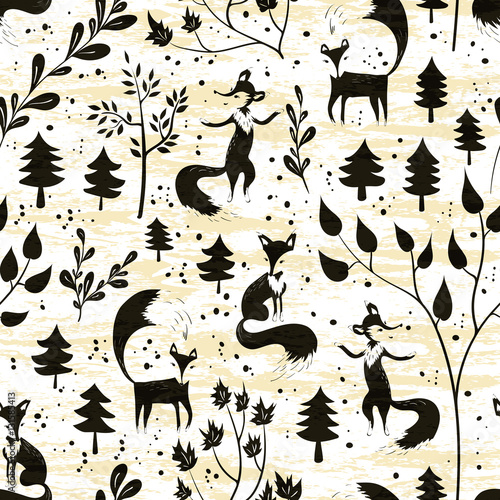 Cotton fabric Seamless pattern with fox in winter forest
