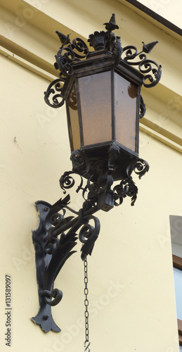 vintage street lamp with forged elements
