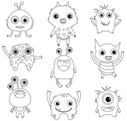 A collection of funny and cute vector monsters or aliens -  black outlines