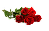 red rose bouquet isolated on white background - 131600093