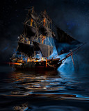 Model Pirate Ship with fog and water - 131610638