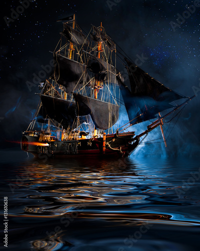 Poster Schip Model Pirate Ship with fog and water