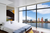 cityscape and skyline of portland from modern bedroom