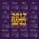 Happy New Year 2017 calendar on dark purple color design vector illustration.