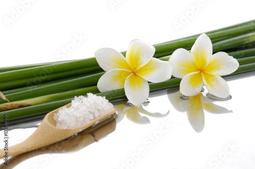 Poster Spa Two frangipani with bamboo grove, salt in spoon