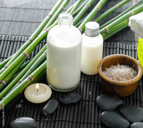 Plexiglas Spa Salt in bowl and stones and oil, grove on bamboo mat