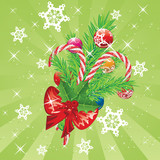 Candy Canes with Bow and Branch