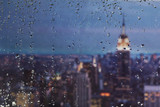 Raindrops on a window looking over New York City